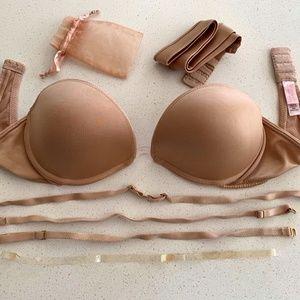 'Very Sexy' Silky Nude Low-cut Convertible Bra 36B